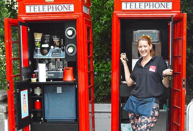 Telefones públicos se transformam em cafeterias na Inglaterra
