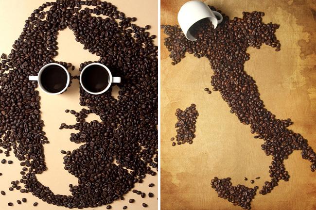 Artista Utiliza Graos De Cafe Para Formar Desenhos