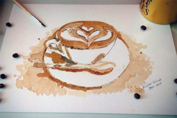Barista pinta quadros com café e expõe em Curitiba