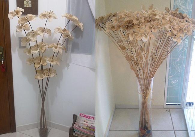 Filtros de cafe usados viram flores na mao de artesa   Filtros de café usados viram flores na mão de artesã