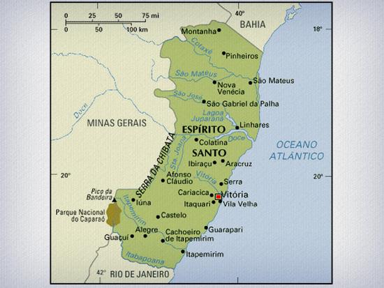 mapa ES arabiba tratada   Café do Brasil: Espírito Santo (Arábica)