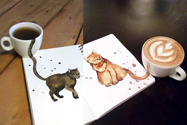 ilustracao-gatos-cafe